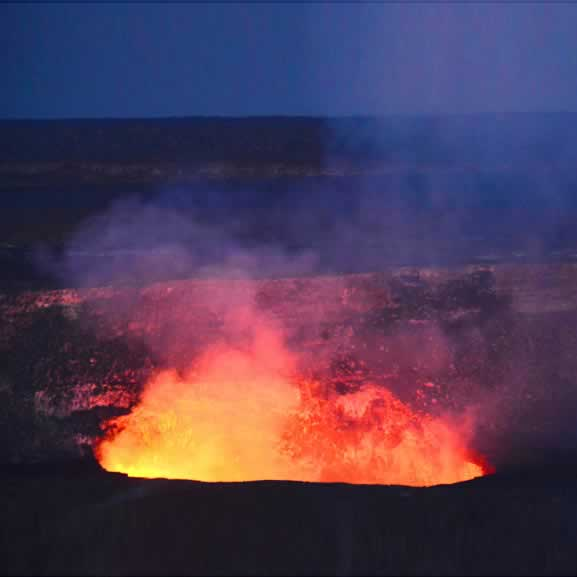 Volcanoes National Park Hawaii erupting at night
