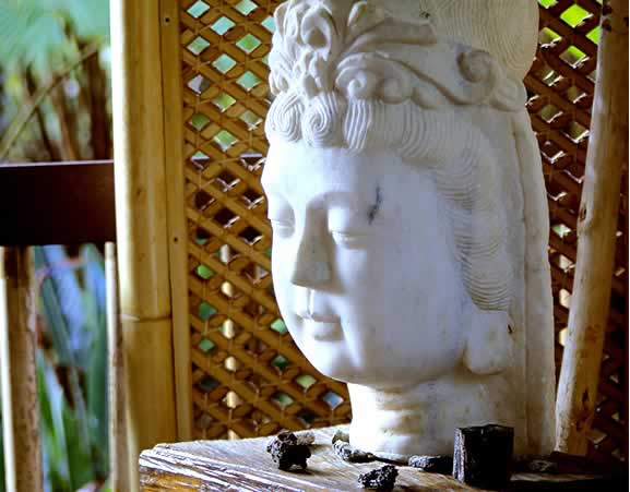 Tranquil Asian sculpted statue head on table
