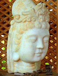 Asian sculpture in zen garden